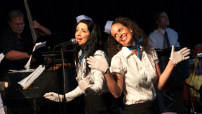 Lauren and Chiara looking like happy 'Jet Set' stewardesses!