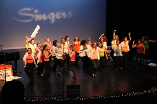 A dance party during 'Bella's Finals'. We do have a great time on stage!